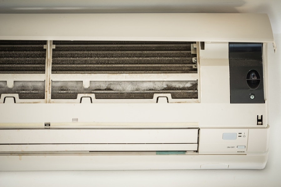 Ductless Air Conditioner with frozen coils