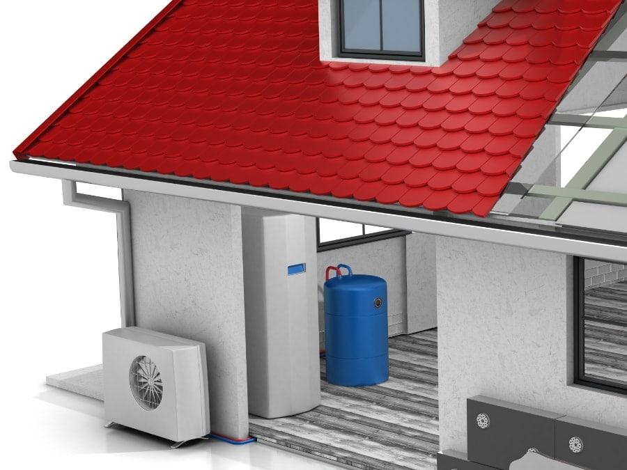 air source heat pump illustration.